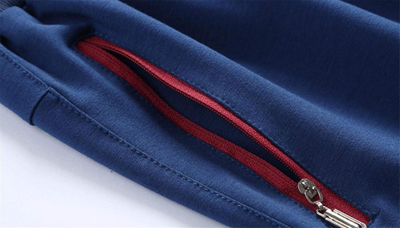 X-Future Mens Color Block Hoodie Jacket 2 Pieces Gym Pants Tracksuit Outfit Set