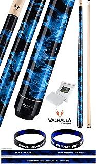 product image for Valhalla VA211 by Viking 2 Piece Pool Cue Stick Blue Marble Paint No Wrap 16-21 oz. Plus Rosin Bag & Bracelet