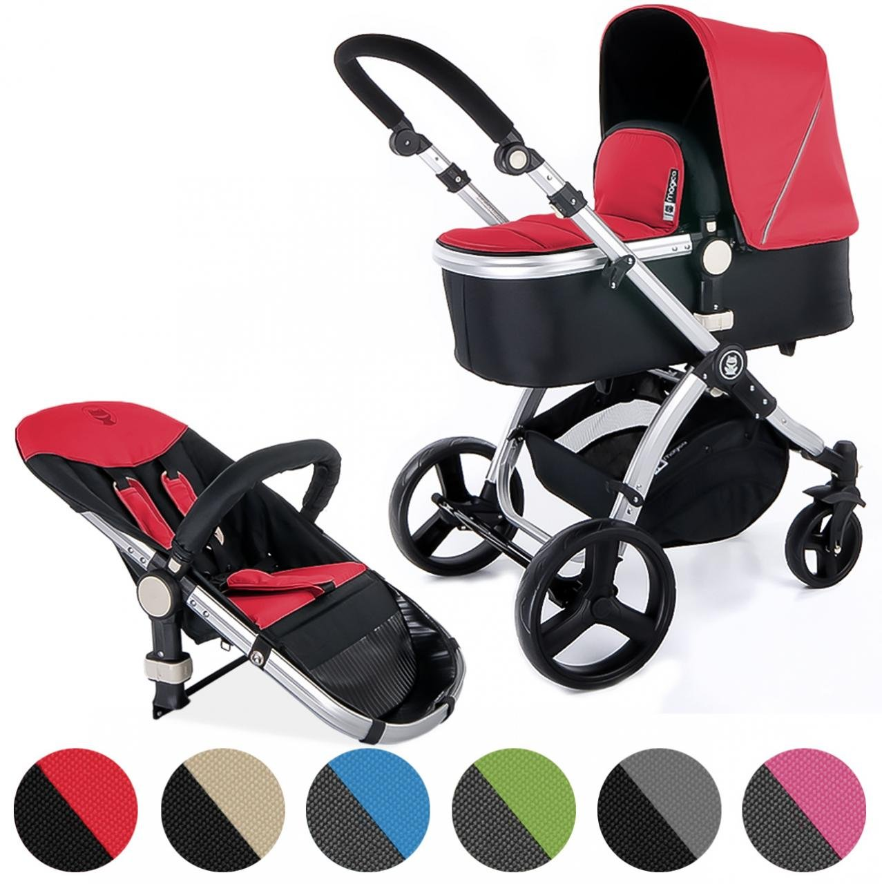 Froggy pushchair pram MAGICA baby stroller buggy 2in1 travel system with carrycot and child seat unit Anthracite