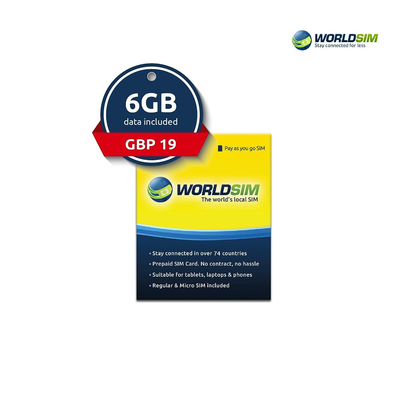 WorldSIM Data Roaming SIM - Un Paquete de Datos prepagados para 74 ...