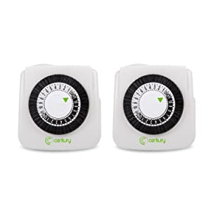 Century Mini Indoor 24-Hour Mechanical Outlet Timer, 2 Prong, 2-Pack
