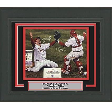 fac759438d8 Framed Autographed Signed Brad Lidge   Carlos Ruiz Dual 2008 World ...