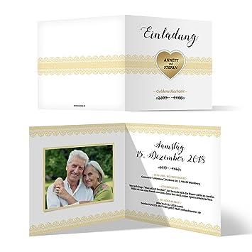 100 X Hochzeitseinladungen Goldhochzeit Goldene Hochzeit