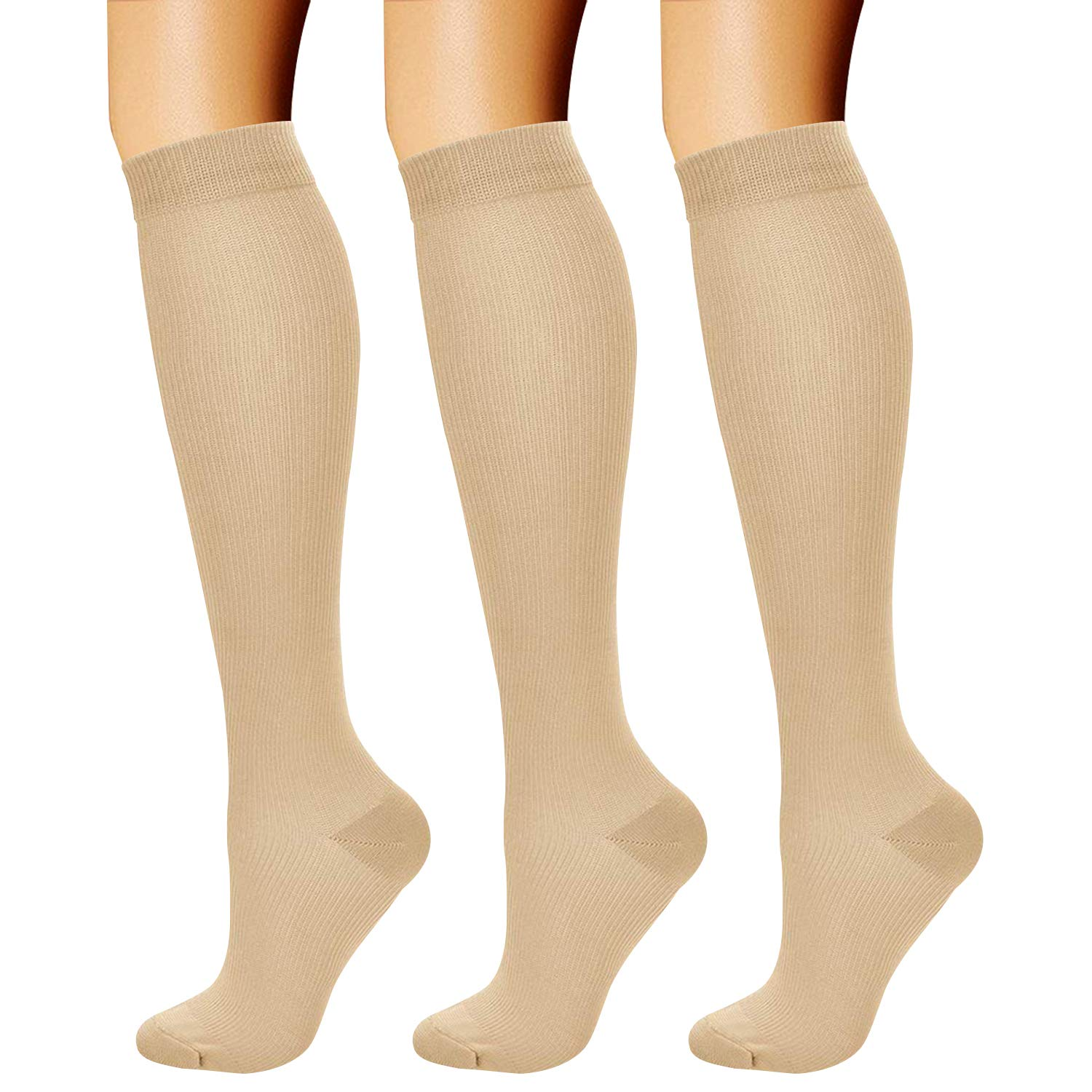 CHARMKING Compression Socks (3 Pairs) 15-20 mmHg is Best Athletic & Medical for Men & Women, Running, Flight, Travel, Nurses, Edema - Boost Performance, Blood Circulation & Recovery (L/XL, Nude) by CHARMKING