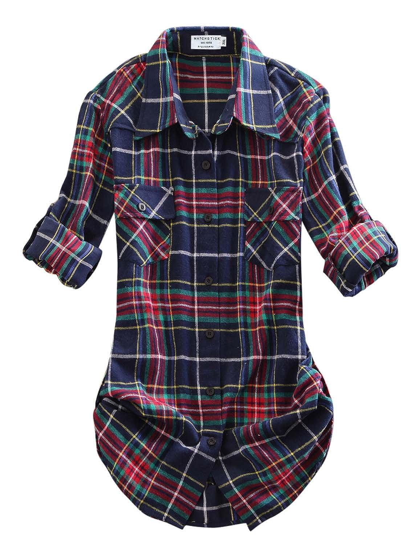 2021 Checks 10 Match Women's Long Sleeve Flannel Plaid Shirt