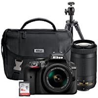Nikon Kit Cámara Réflex Digital D3400, Incluye Lentes AF-P 18-55mm f/3.5-5.6G VR y AF-P DX Nikkor 70-300mm F/4.5-6.3G ED, Estuche, tripié y SD Card