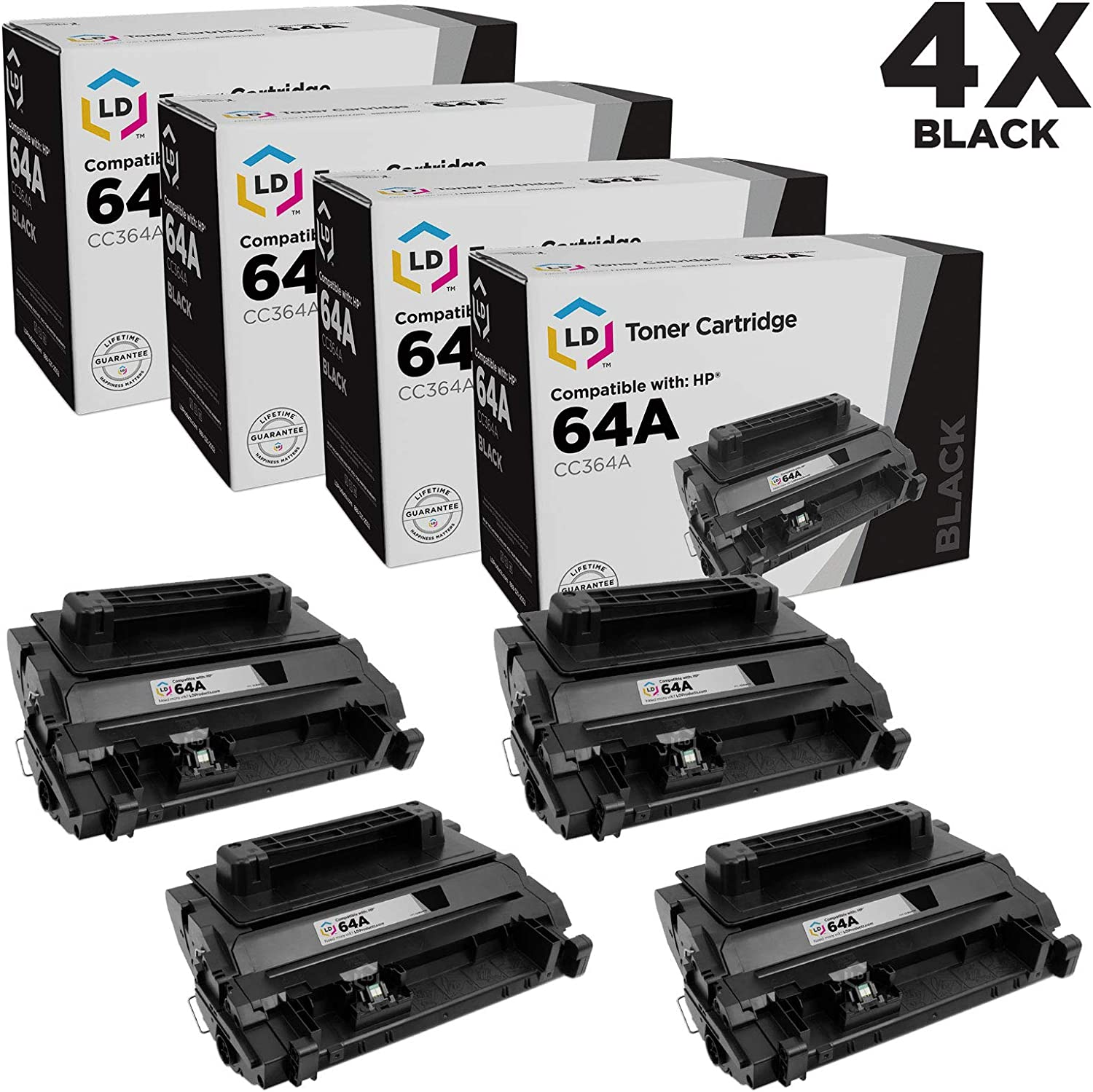 LD Compatible Toner Cartridge Replacement for HP 64A CC364A (Black, 4-Pack)