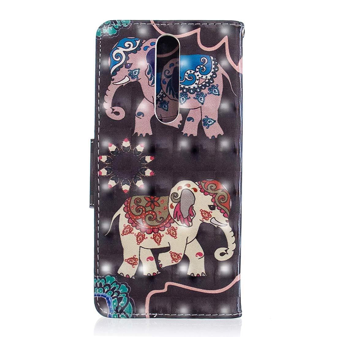Lyzwn Custodia Nokia 5.1//Nokia 5 2018 Cases Flip in Pelle 3D PU Cuoio Copertura Case Cover con Wallet Portafoglio Supporto Carte Chiusura Magnetica Caso Copertina per Nokia 5.1//Nokia 5 2018