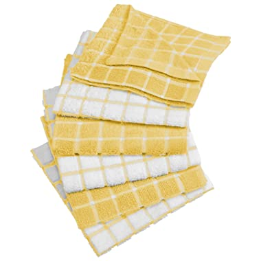 DII 100% Cotton, Machine Washable, Ultra Absorbant, Basic Everyday 12 x 12  Terry Kitchen Dish Cloths, Windowpane Design, Set of 6- Yellow