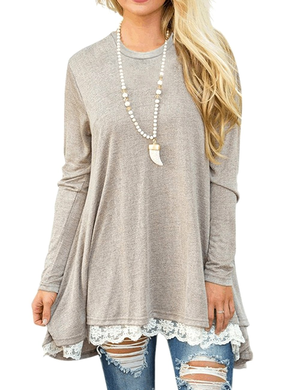 Miskely Women's Long Sleeve Lace Tunic Tops Round Neck Loose Blouse Casual Swing Cotton T-Shirt for Leggings (L, Light Khaki) by Miskely (Image #2)