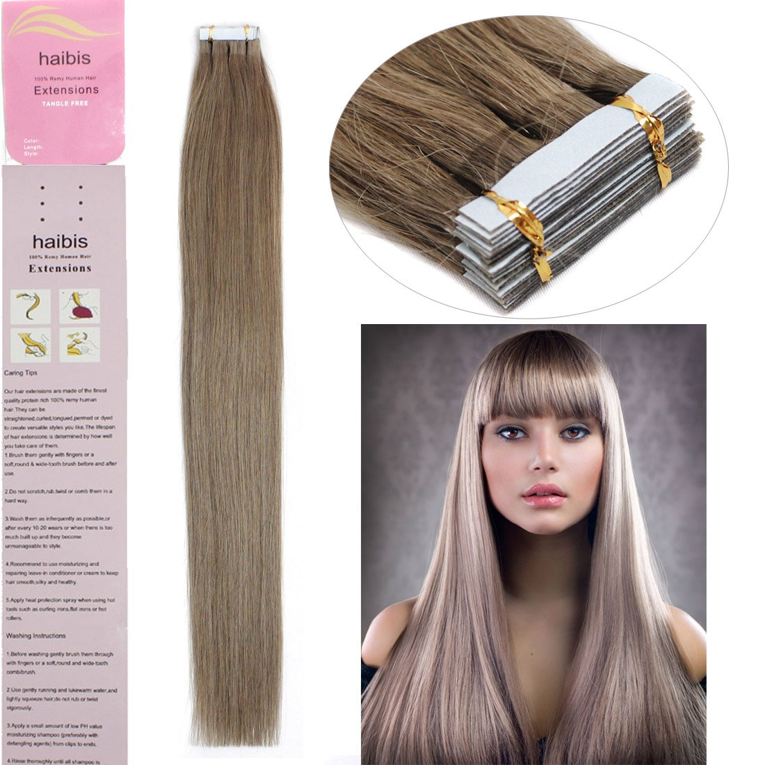 Amazon Haibis Hair Extensions Tape In Remy Human Hair 20pcs