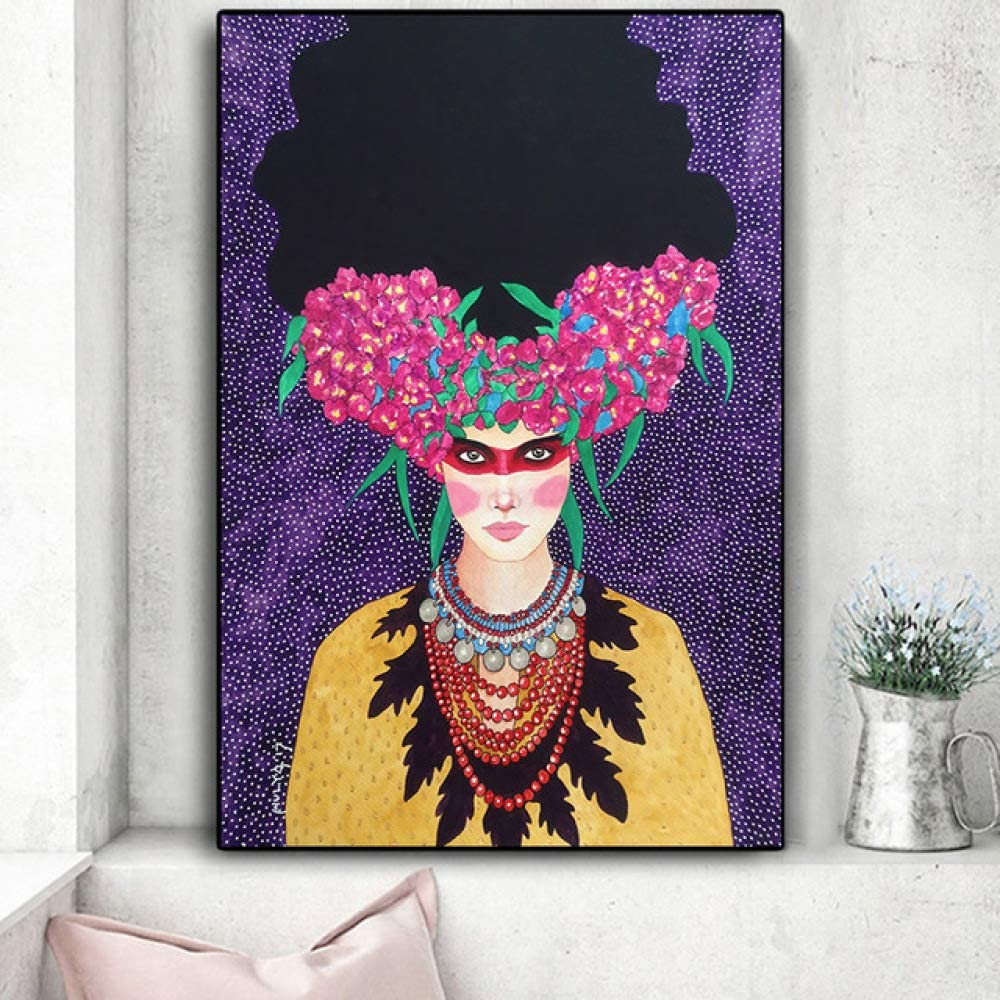 Retro Abstract Girl Hair Flower Women Wall Art Canvas Nordic Painting Fashion Poster Wall Photo Living Room No Frame Amazon Co Uk Kitchen Home