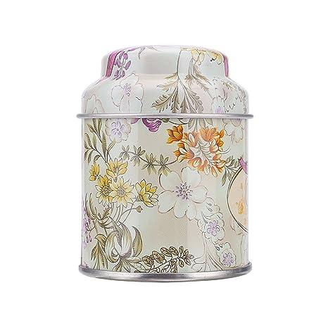 Kicode Fondo Redondo Latas Caja de Caramelo Retro Las latas de té de contenedores La hojalata