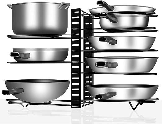 VDOMUS Pan and Pot Lid Holder Black Metal Height Adjustable Pan Organizer Rack