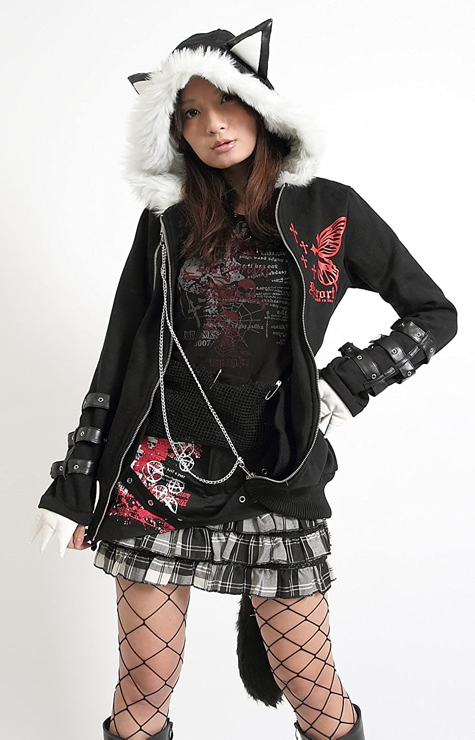 1b4aef4f819 Punk rock visual kei butterfly hell meow hoodie goth emo jacket hoodie  small at amazon womens