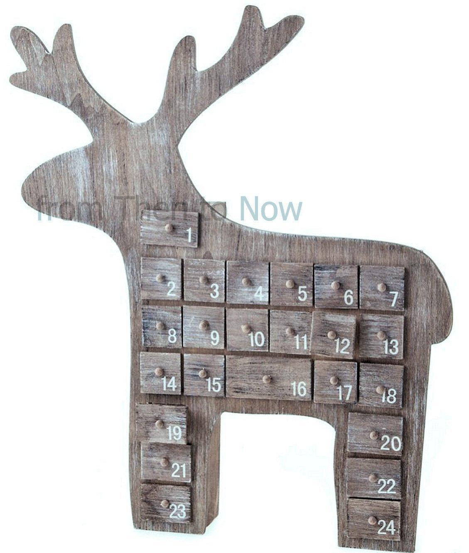 Gisela Graham, calendario dell'Avvento in legno naturale, a forma di renna, 40cm 40cm
