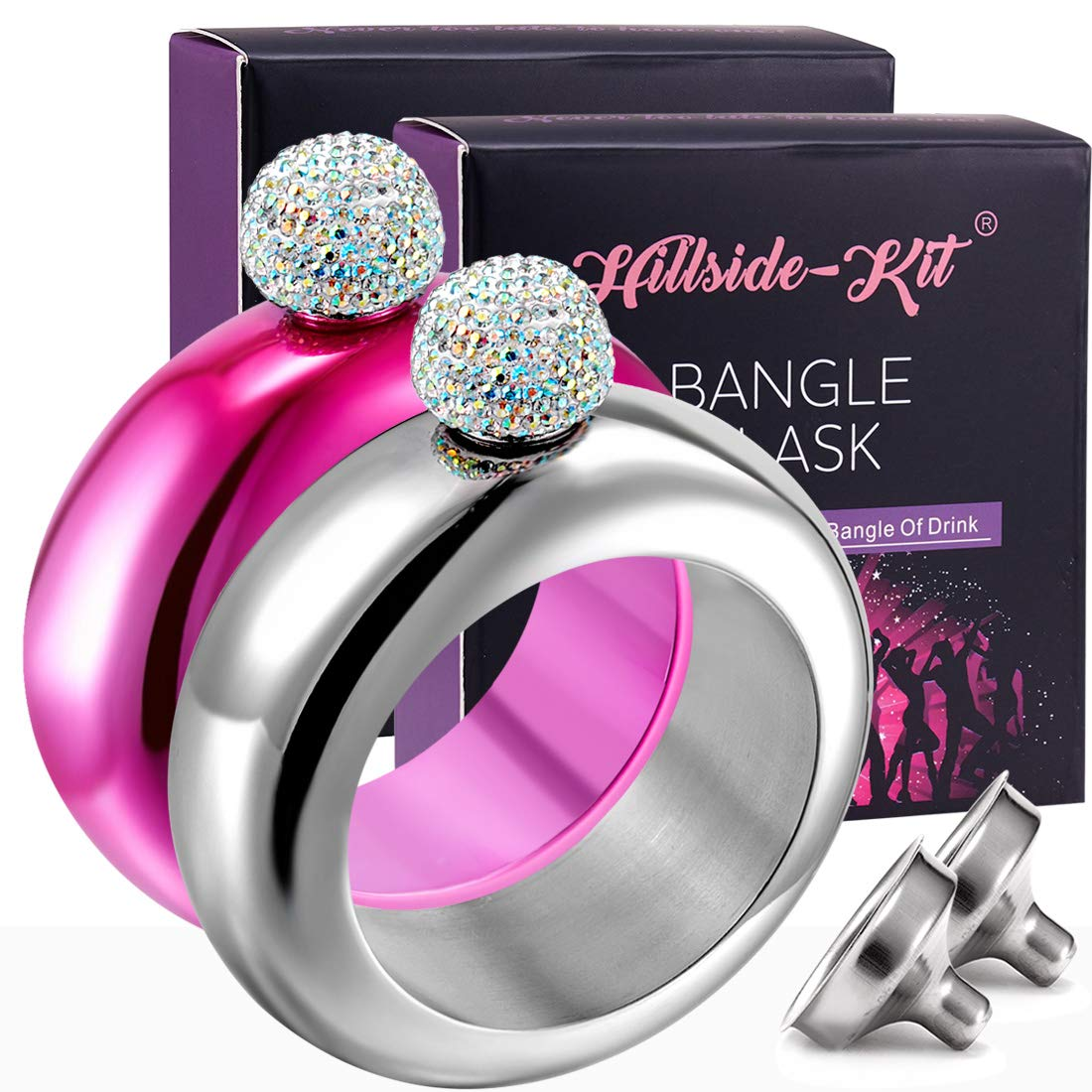 セール特価 (Silver Pink Flask Bracelet) for - Hillside-Kit Booze Flask Shot Flask AB Bangle Bracelet- AB Crystal Lid Creative 304 Stainless Steel Wine Alcohol Liquor Flask bracelet for Women Girls Party Flask Set 100ml-2PCS B07DJ845W2, ダーツハイブ カウントアップ店:cdf0f531 --- a0267596.xsph.ru