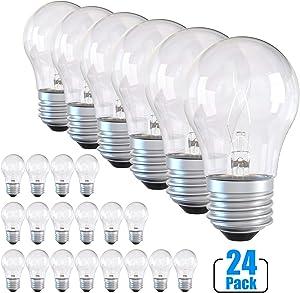 Ceiling Fan Light Bulbs, A15 Oven Refrigerator Light Bulb 40 Watt 120v High Temp, E26 E27 Standard Base Incandescent Appliance Bulb Soft White Dimmable (24 Pack)