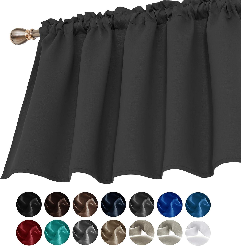 Deconovo Window Curtain Valances for Kitchen Valance Light Blocking Blackout Curtain Valances 42x24 Inch Dark Grey 1 Panel
