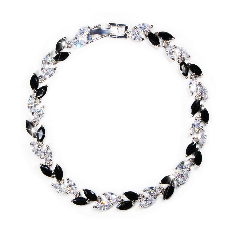 MHZ JEWELS Women Black White Crystal Dainty Bracelet Cubic Zirconia Link Wedding Bridal Bracelet Jewelry