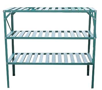 FoxHunter Garden Greenhouse Staging Shelving Shelves Bench Aluminium Metal  Storage Shelf 3 Tier Green