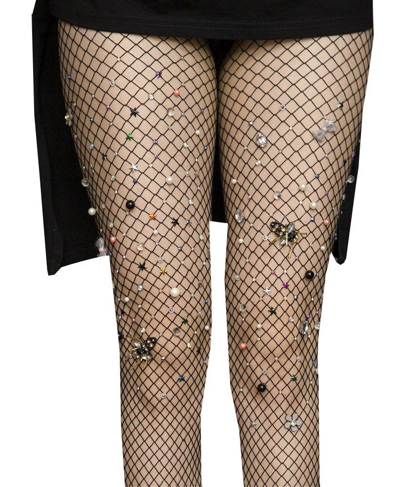 Women's High Waist Fishnet Stockings Sparkle Rhinestone Tights of MERYLURE (One Size, Black Grid)