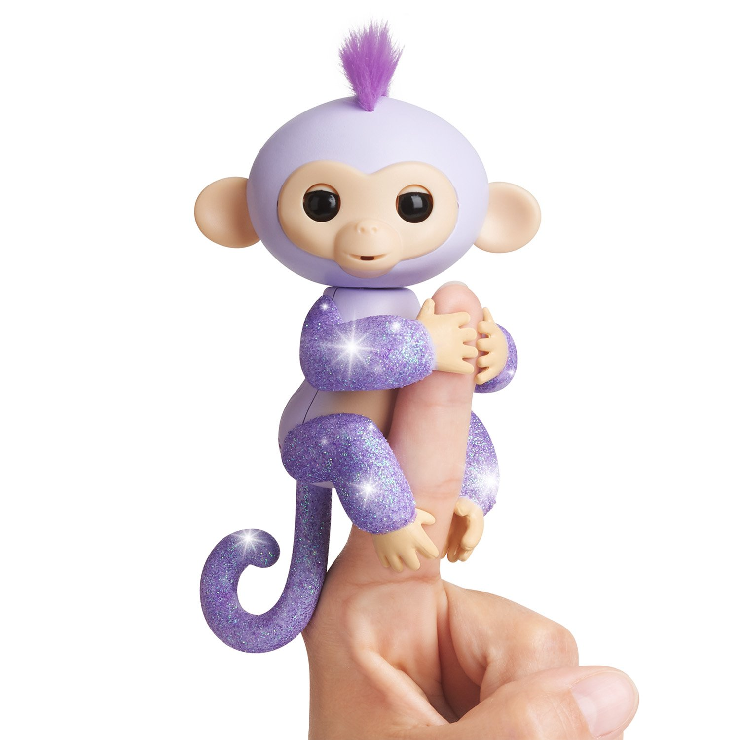 Fingerlings Glitter Monkey - Kiki (Purple Glitter) - Interactive Baby Pet - By WowWee