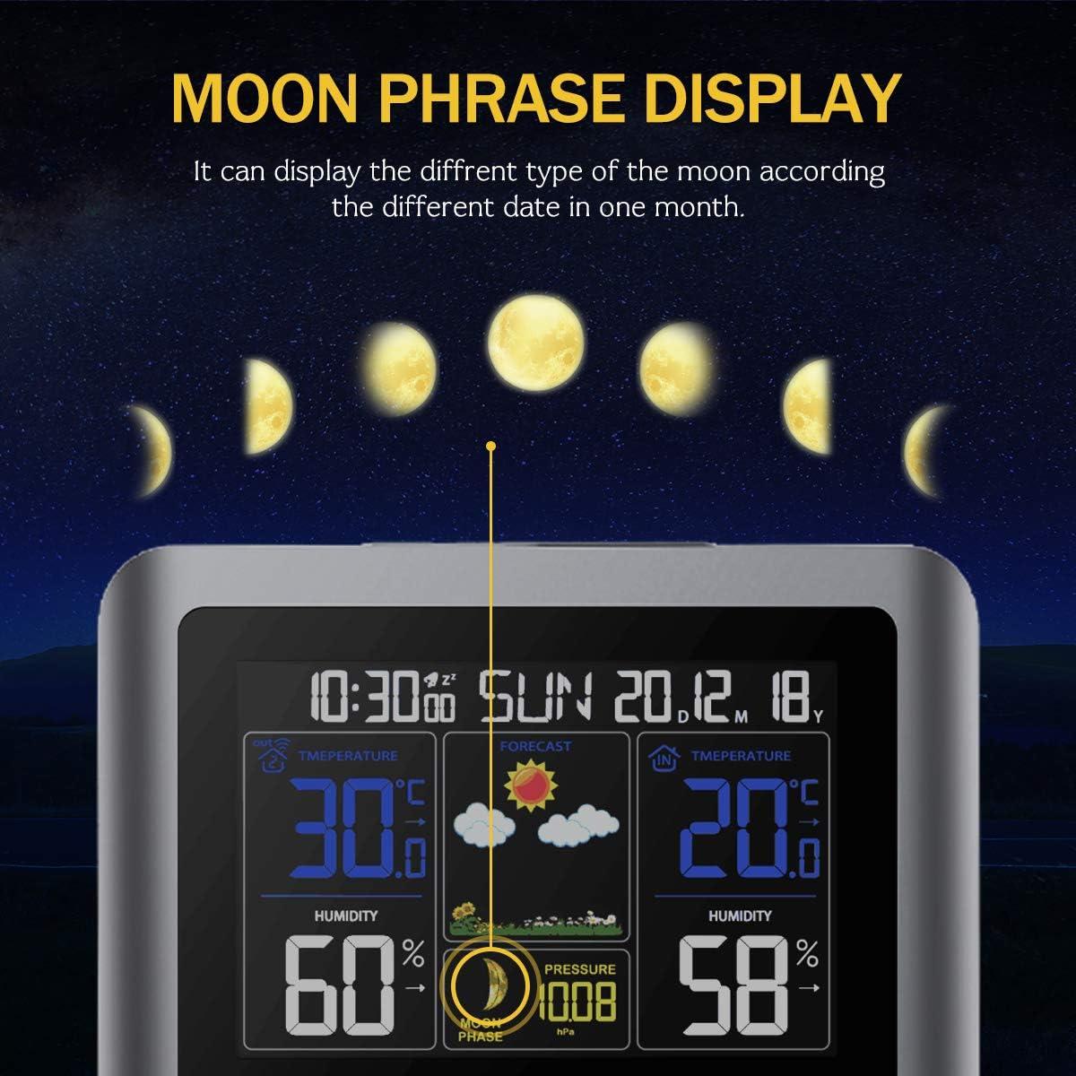Qomolo Stazione Meteorologica Termometro Igrometro Digitale con Sensore umidit/à Interno Esterno Wireless per Dentro e Fuori per Previsione di Tempo Temperatura Umidita Barometro Fase Lunare