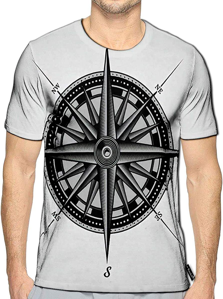 3D Printed T-Shirts Black and White Nautical Compass Rose On Vintage Old Texture
