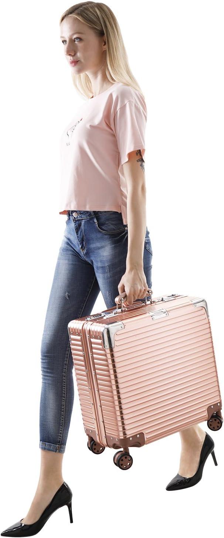 18inch Suitcase lock Carry Onsui tcase Aluminum HardShell Luggage Case Carry On Spinner Suitcase Carry Onsui tcase Rose
