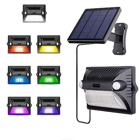 AREOUT Foco Solar Exterior con Separado Panel Solar,12 LED,Cabeza Doble Sensor de