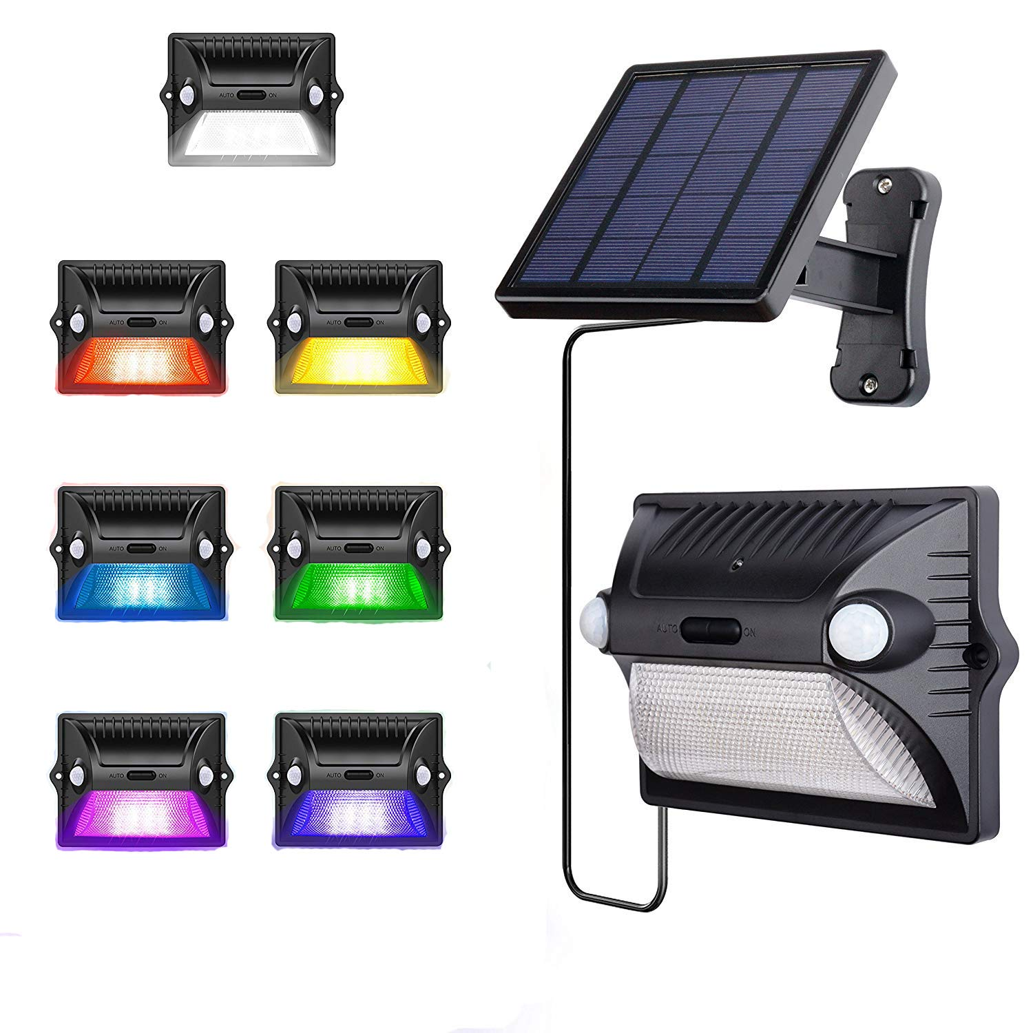 Solar Lights Outdoor,AREOUT Wall Solar Motion Sensor Light Outdoor Waterproof with Separate Panel,12 LED Dual Head Sensor Color Changing Solar Security Lights by AREOUT
