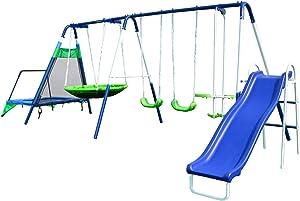 Sportspower Mountain View Metal Swing, Slide and Trampoline Set