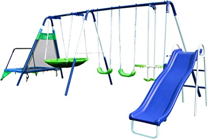 Amazon Com Sportspower Mountain View Metal Swing Slide And Trampoline Set Toys Games