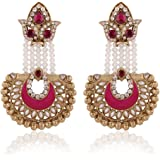 I Jewels Traditional Gold Plated Hanging Earrings for Women E2517Q (Rani/Dark Pink)