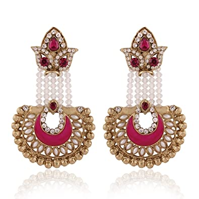 b457a1aba5ec80 Buy I Jewels Traditional Gold Plated Hanging Earrings for Women E2517Q  (Rani/Dark Pink) Online at Low Prices in India   Amazon Jewellery Store -  Amazon.in