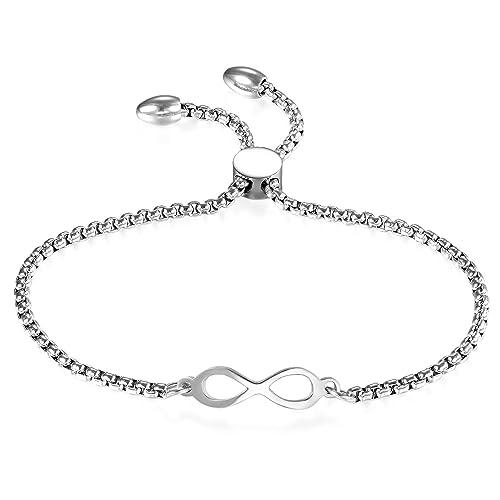 Muttertagsgeschenke Edelstahl infinity Armkette Damenarmband Armreif  Charmsarmband Armband Verstellbar für Damen, silber 7f59b9bd04