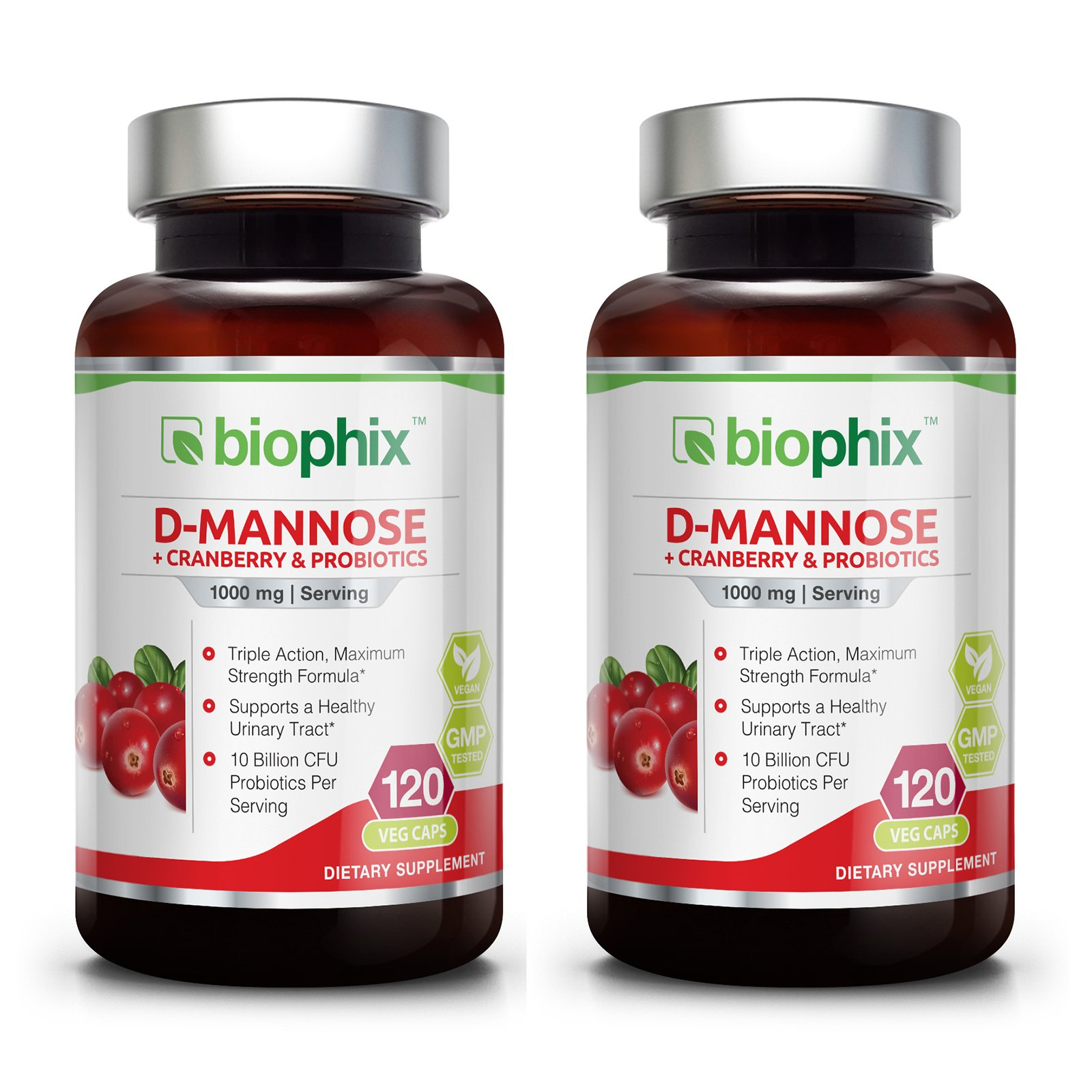 2 D-Mannose Plus Cranberry and Probiotics 1000 mg 120 Vcaps Pack - Urinary Tract Health | Bladder Infection | Support UTI Prevention | Digestive Health