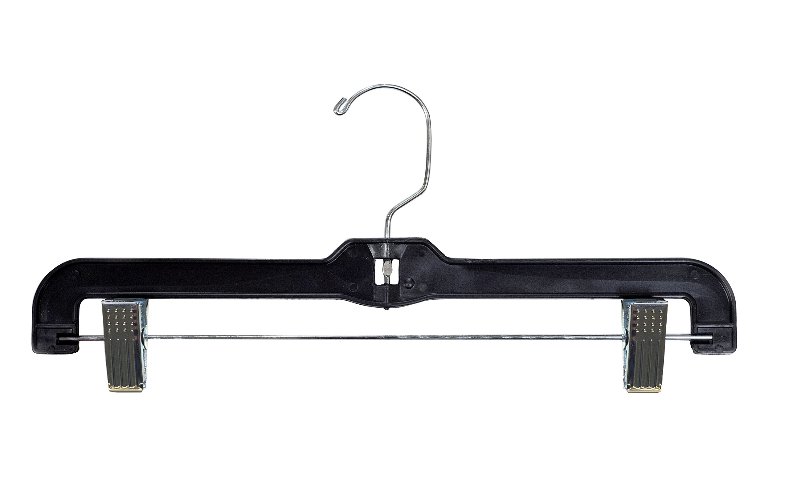 NAHANCO 2600RC Plastic Heavy Weight Skirt/Slack Hanger, Chrome Adjustable Clips, 14'', Black (Pack of 100)