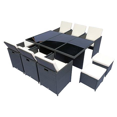 Conjunto Salón de jardín encastrable 10 Plazas 6 sillas ...