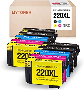 MYTONER Remanufactured Ink Cartridge Replacement for Epson 220 XL 220XL (Black Cyan Magenta Yellow, 10-Pack)