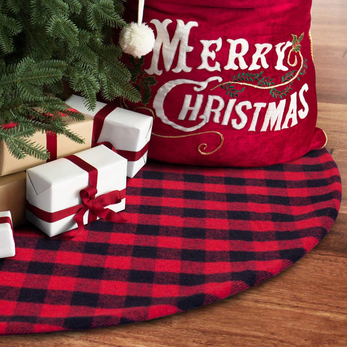 S-DEAL 48 Inches Christams Tree Skirt Red and Black Plaid Buffalo Double Layers Checked Deco for Holiday Party Mat Xmas Ornaments