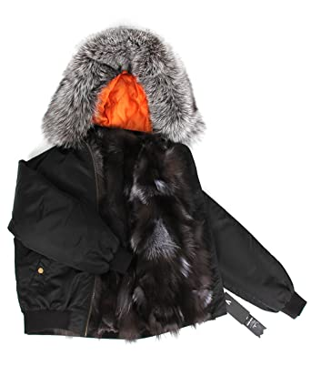 9c6145b8212 Melody Women s Luxurious Winter Real Fox Fur Lined Bomber Jacket Raccoon Fur  Collar Hooded Coat Mini