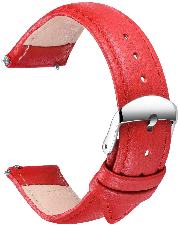 SONGDU メンズ クイックリリース革の時計バンド、ステンレス金属のバックルの留め金16ミリメートルとフルグレイン本革の交換用時計ストラップ、18ミリメートル、20ミリメートル、22ミリメートル、24ミリメートル 20ミリメートル 赤 B078TCWSGR 20ミリメートル|レッド レッド 20ミリメートル