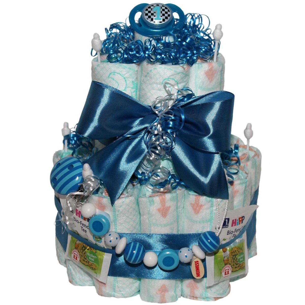 Windeltorte Schnullerkette Boy Geschenk zur Taufe oder Geburt Windeltorten.Eu