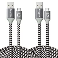 Micro USB Charger, 2 pcs (10ft/3M) Fasgear Nylon Braided Tangle-Free Fastest Charger Data Colorful Cable with Metal Connectors for Android, Samsung Galaxy S7/S7 Edge, Sony and More (2 pcs White)