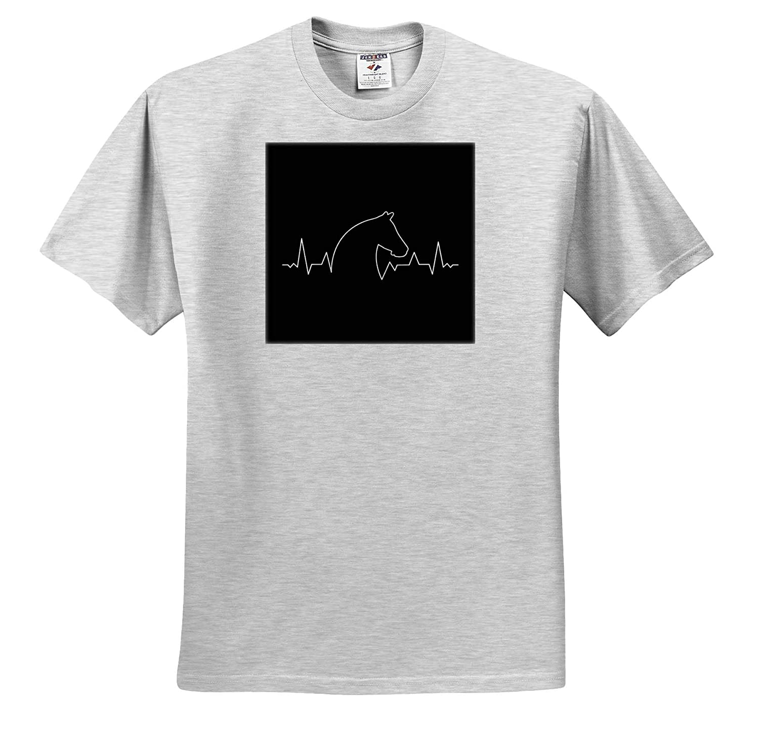 T-Shirts 3dRose Sven Herkenrath Animal Heartbeat Graphic with Horse Horse Portrait Equestrian