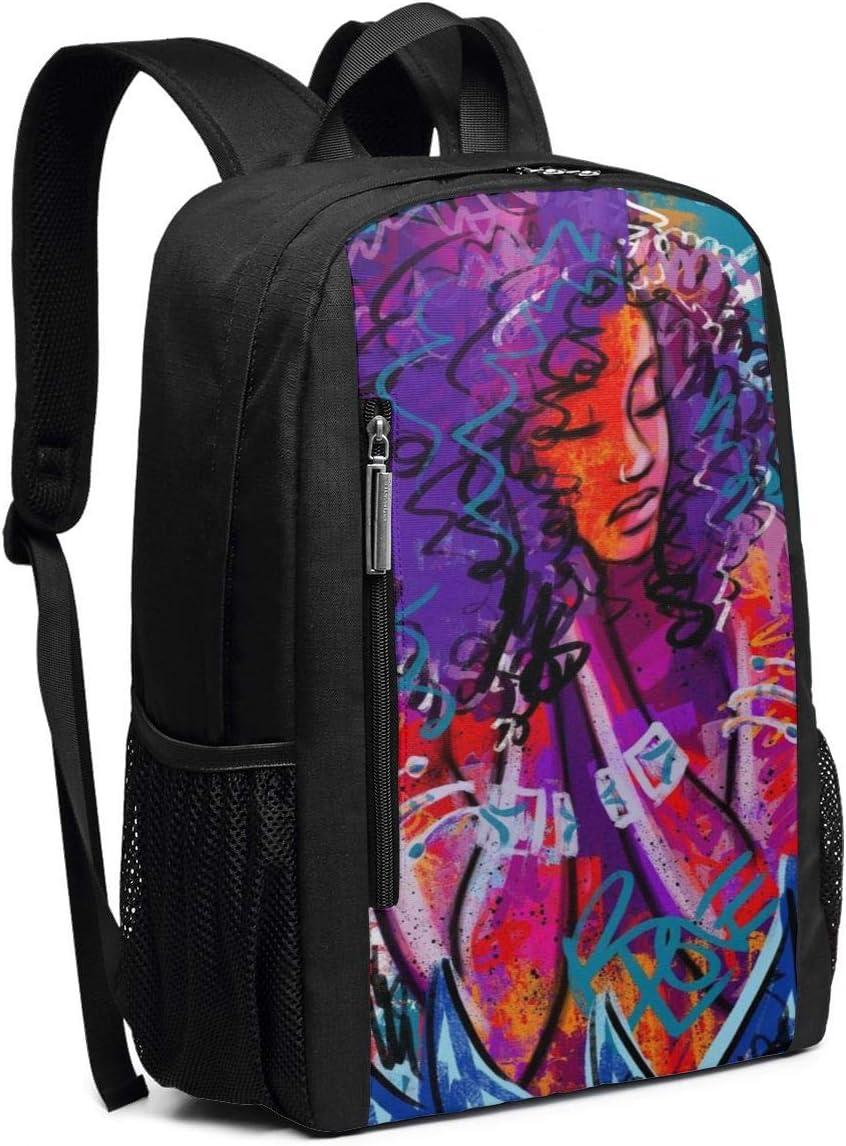 African American Lovers Abstract Graffiti Print School Rucksack College Bookbag Lady Travel Backpack Laptop Bag for Boys Girls