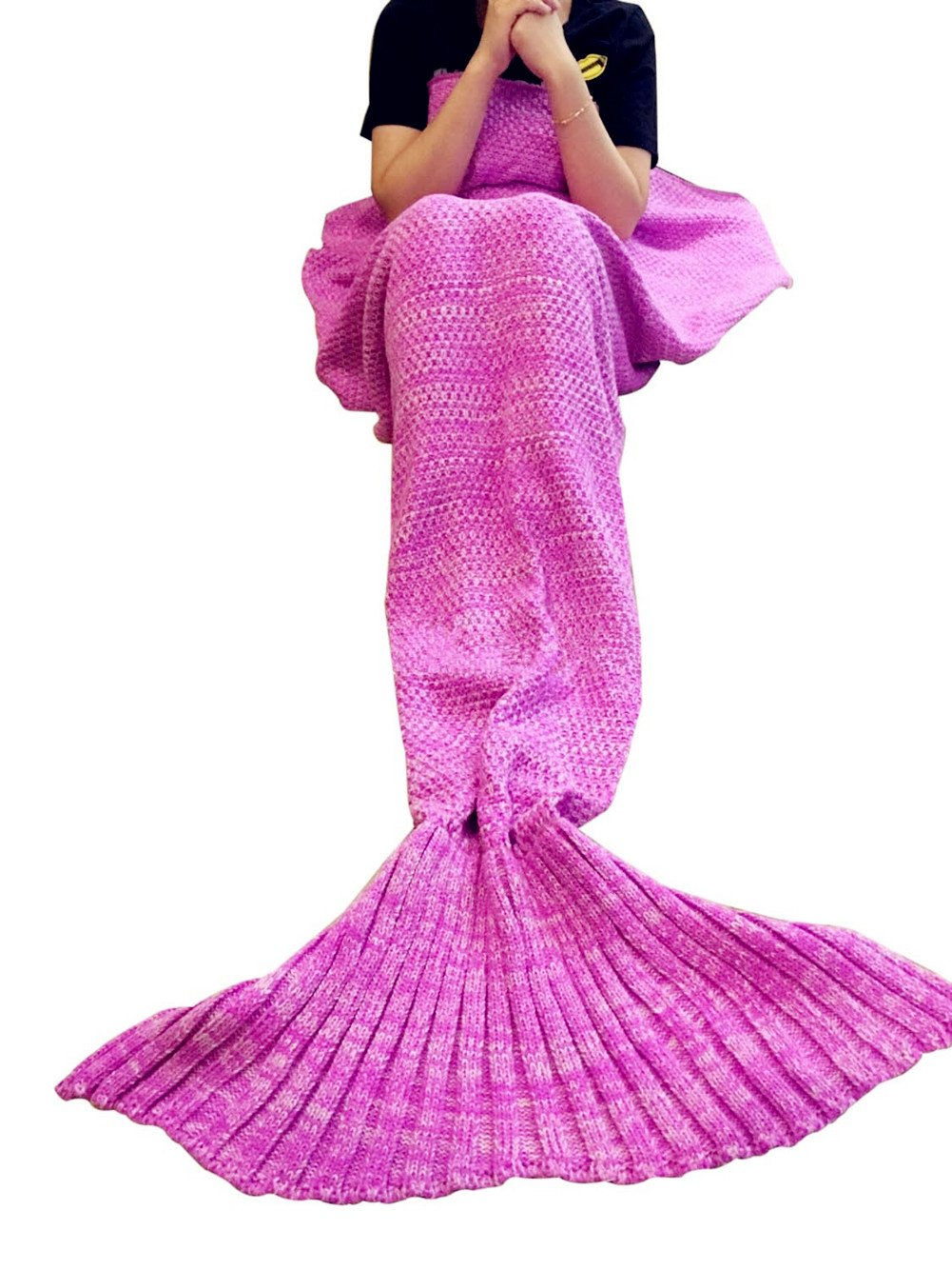 Gifts for Girls, Mermaid Tail Blanket for Ladies,Mermaid blanket, Crochet Snuggle Mermaid, Handmade Crochet Mermaid Blanket,Best Birthday gift persent for Teenage and Adult by Jr.Hagrid (Pink)