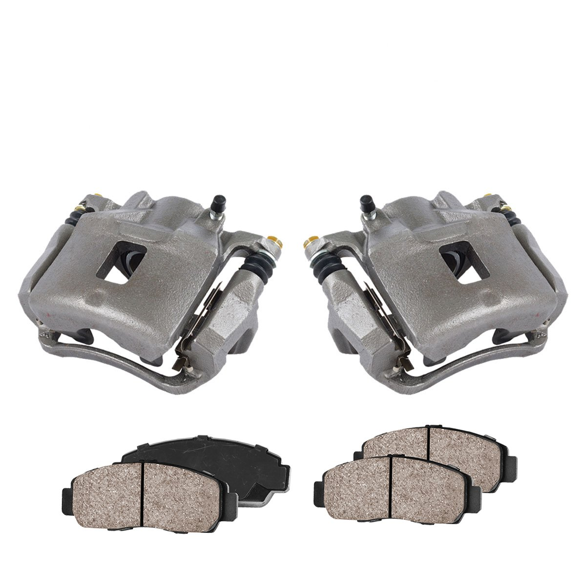 COEK00615 [2] FRONT Premium Loaded OE Caliper Assembly Set + Quiet Low Dust Ceramic Brake Pads Callahan Brake Parts
